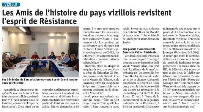 Dauphiné Libéré, Romanche & Oisans, Vizille, édition du 18 mai 2019.