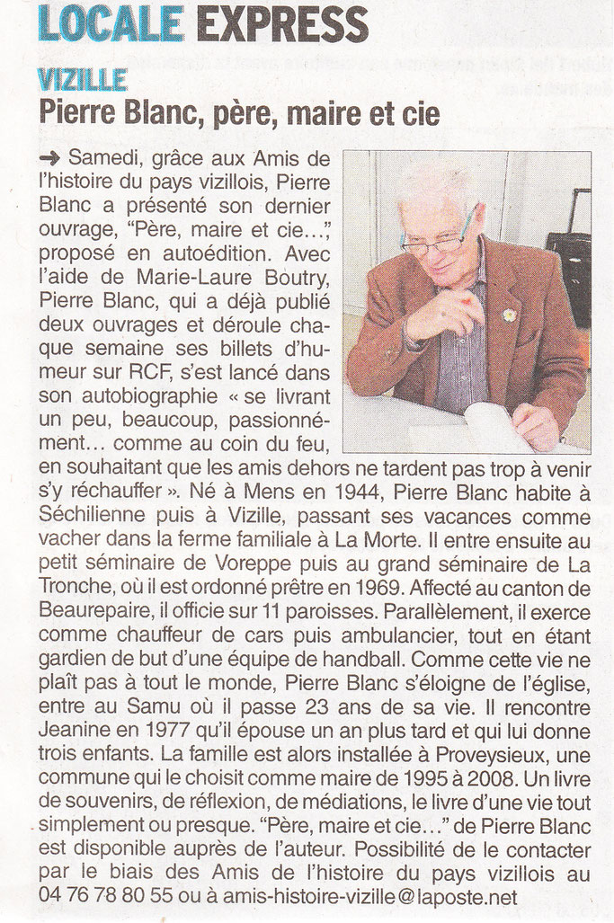 Dauphiné Libéré, Romanche & Oisans, Vizille édition du 29 mars 2017.