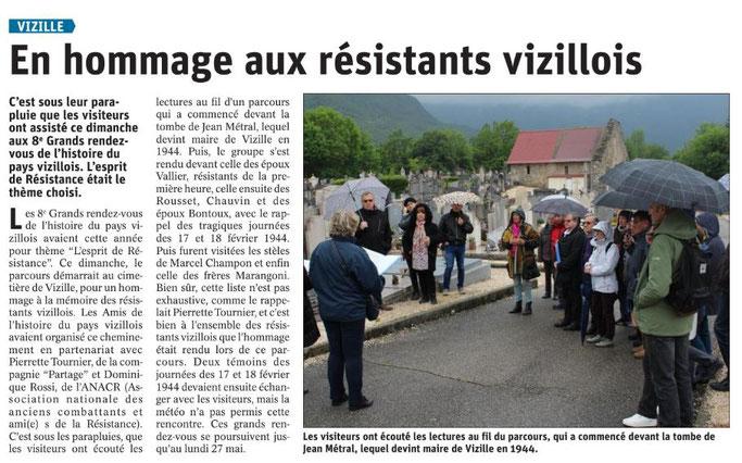 Dauphiné Libéré, Romanche & Oisans, Vizille, édition du 23 mai 2019, article et photo Magali Pierrard