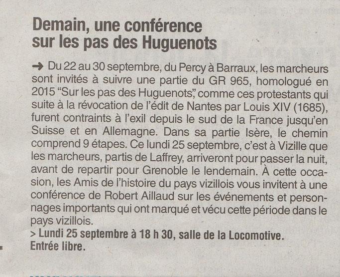 Dauphiné Libéré, Romanche-Oisans, Vizille, édition du 24 septembre 2017.