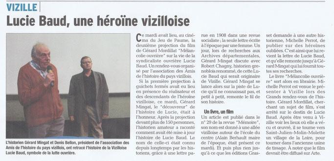 Dauphiné Libéré, Romanche & Oisans, Vizille édition du 26 janvier 2018.