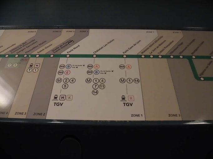 RERは地下鉄より駅間が離れている