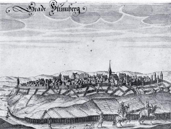 """Stadt Blumberg"""" - Blick auf Blomberg von Osten. Kupferstich von Elias van Lennep, um 1663. Der Stich stammt aus einer Serie von 27 Kupferstichen von """"Lippischen Schlössern, Städten und notablen Örtern""""."""
