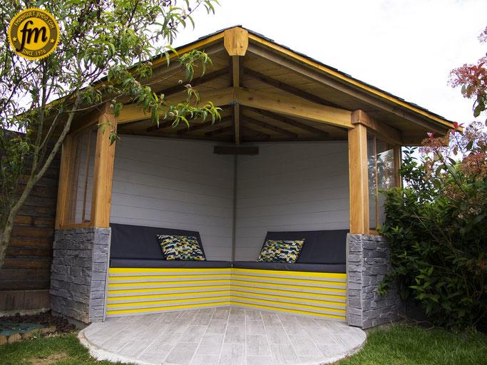 Kiosque en bois, kiosque d'angle en bois, kiosque en bois pas cher
