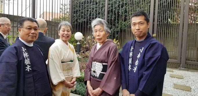 ▲シドモア桜の会のメンバー 小林氏 梅澤氏 恩地会長 施工担当小林