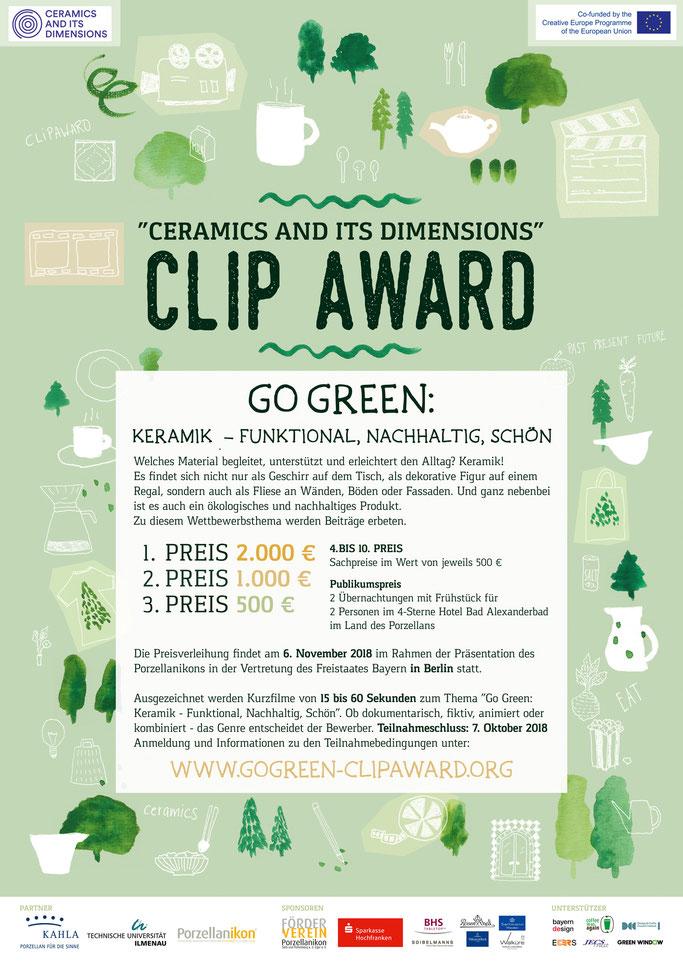 "Plakat ""Go Green: Keramik – Funktional, Nachhaltig, Schön"" Clip Award 2018, Download"