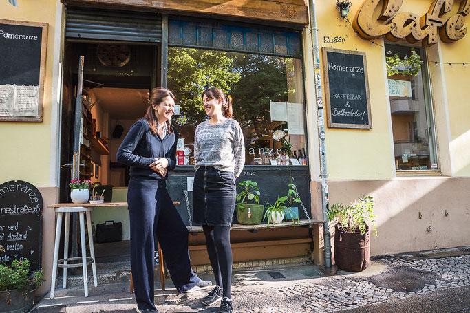 Katharina Herrlich, Marlene Modick, Pomeranze Kaffeebar, Leinestraße, Neukölln, Berlin