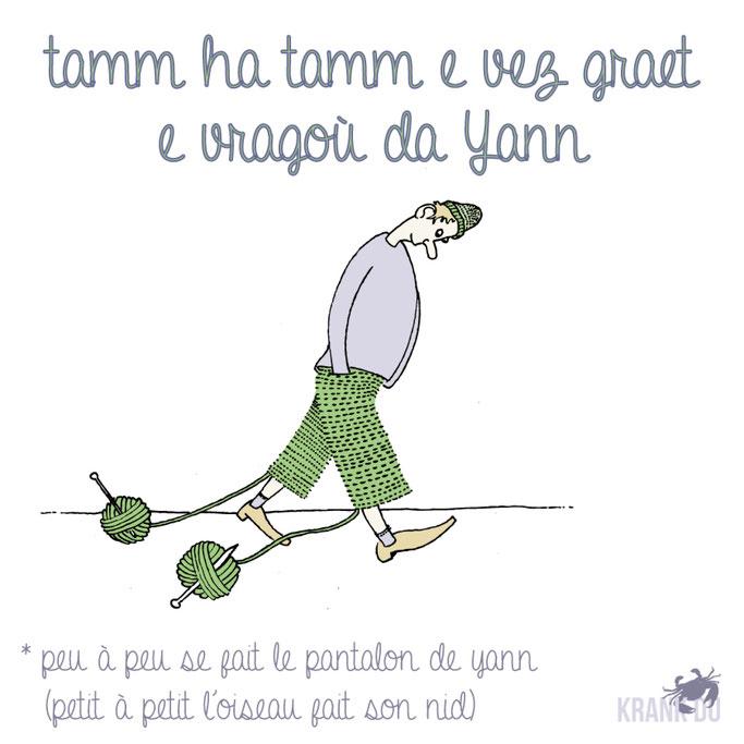 """que signifie l'expression bretonne ? Tamm ha tamm e vez graet e vragoù da Yann """"Petit à petit, l'oiseau fait son nid"""" dessin breton illustration Bretagne bzh breizh mots citation formule figure de style symbole"""