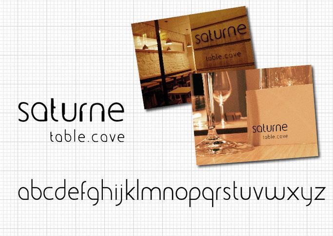création identité visuelle restaurant Saturne table cave paris réalisation logo conception typographie charte graphique carte de visite enseigne