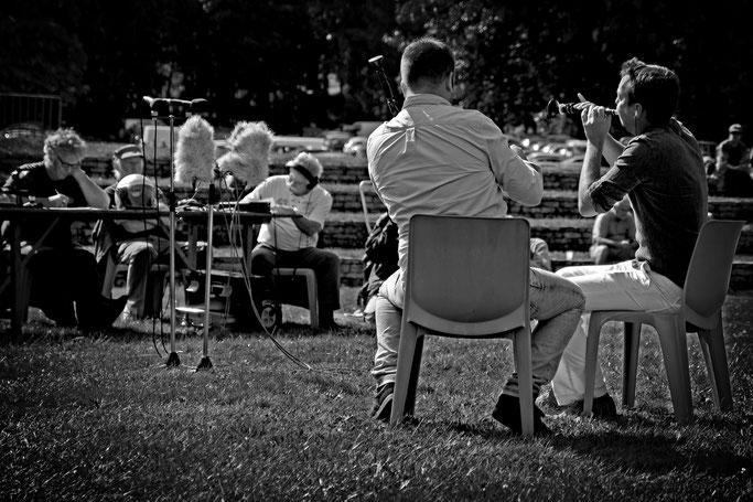 sonneurs biniou bombarde Gourin photo n&b Bretagne musique traditionnelle bretonne Duo Galéron / Le Gall