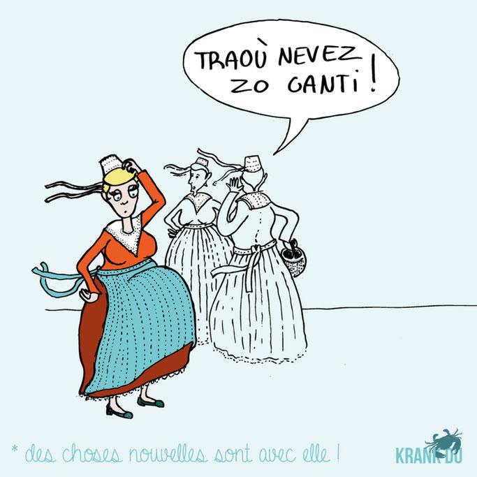"""que signifie l'expression bretonne ? Traoù nevez zo ganti """" elle a un polichinelle dans le tiroir"""" - dessin breton illustration Bretagne bzh breizh mots citation formule figure de style symbole"""