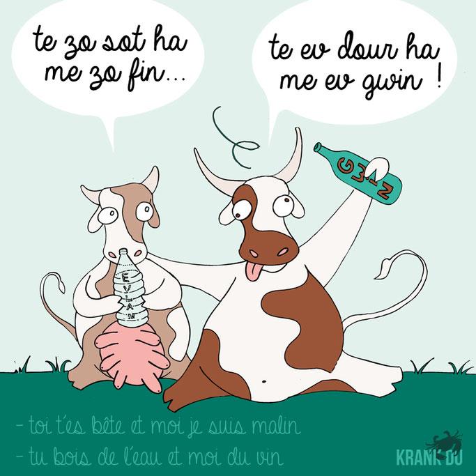 que signifie l'expression bretonne ? Te zo sot ha me zo fin .. Te ev dour ha me ev gwin - dessin breton illustration Bretagne bzh breizh mots citation formule figure de style symbole