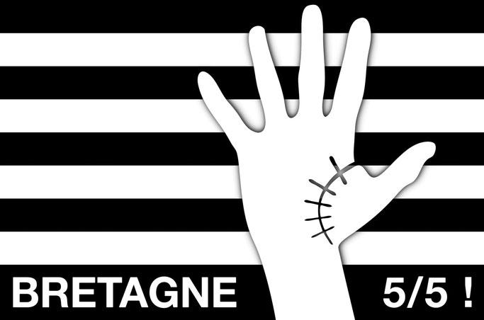 création du logo pour la réunification de la Bretagne à 5 départemenrs Loire-Atlantique Finistère Côtes-d'Armor Morbihan Ille-et-Vilaine BZH 5/5 ! dessin main cicatrice graphiste 22 29 35 44 56 drapeau breton gwenn-ha-du