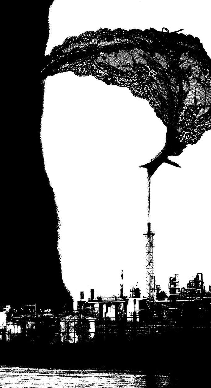 illustration bnw n&b fumée usine lingerie dentelle