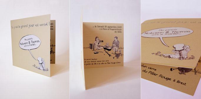 faire-part mariage plougastel quimper 29 22 graphisme design communication publicité breton personnalisé dessin illustration photomaton original sur mesure