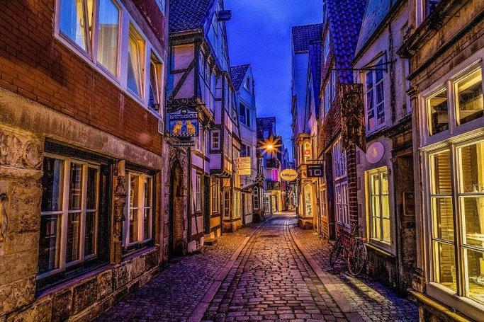 Kurztrip Bremen Schnoor bei Nacht