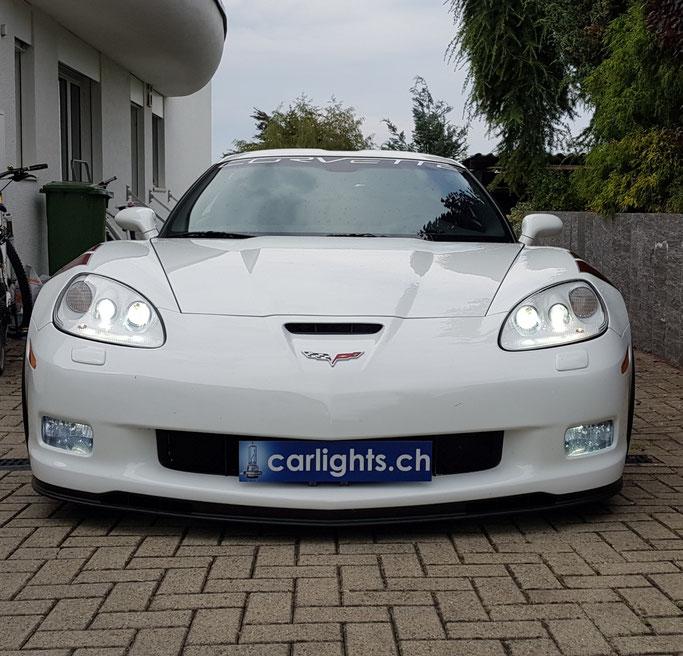Umbau von Halogen auf LED abblend- Fern-Nebel-Licht hier an einer Corvette car carlights light
