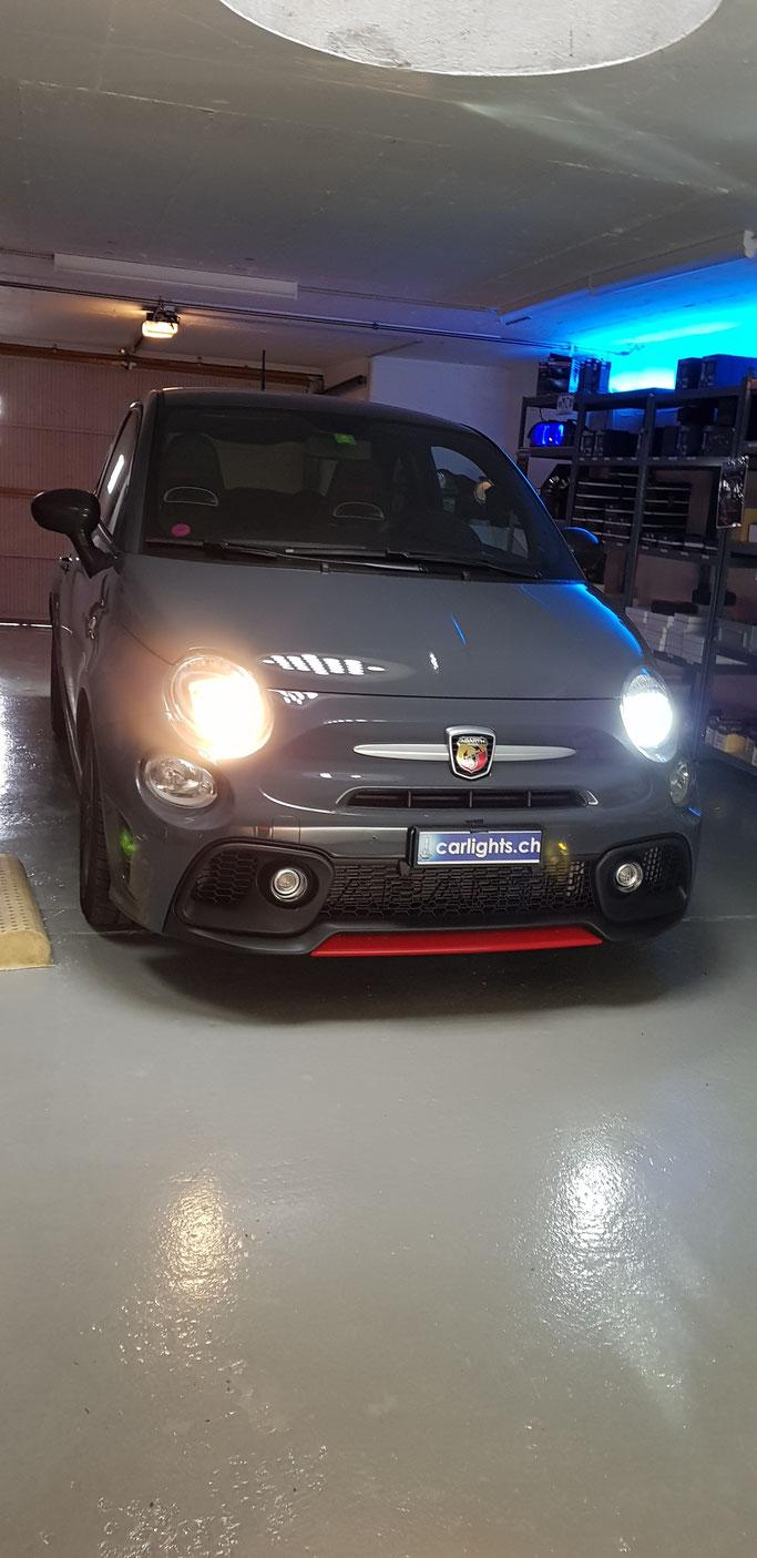 FIAT 500 Abarth LED Umbau Links Halogen Rechts LED H7 Philips X-Treme Ultinon