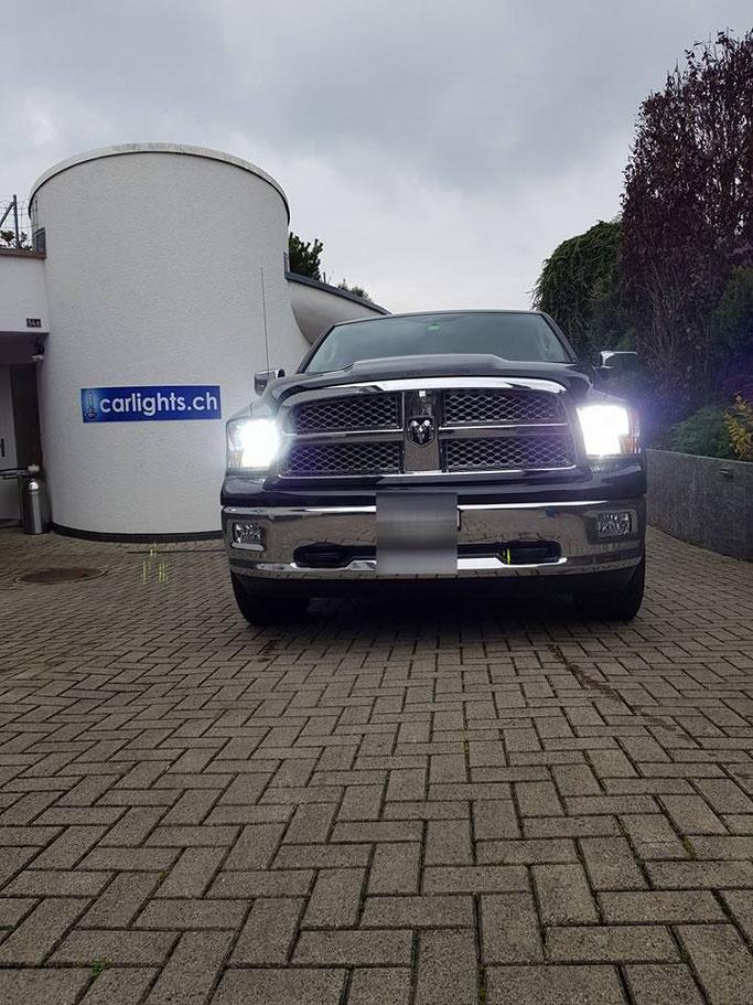 DODGE RAM LED UMBAU ABBLENDLICHT, FERNLICHT STANDLICHT