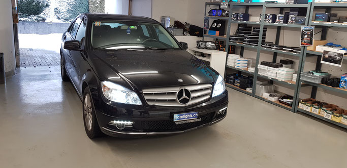 MERCEDES C-Klasse LED Umbau Abblendlicht H7 LED Philips X-tremeUltinon Standlicht LED Swiss Made
