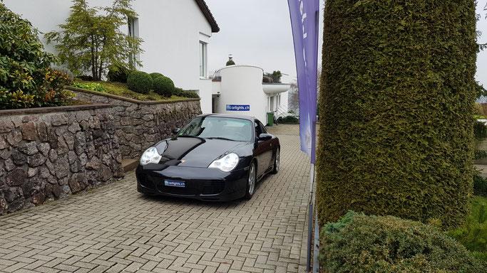PORSCHE  911 CARRERA 4S LED Umbau abblendlicht ED H7 Philips X-Treme Ultinon 200% mehr Licht Standlicht LED Swiss Made www.carlights.ch