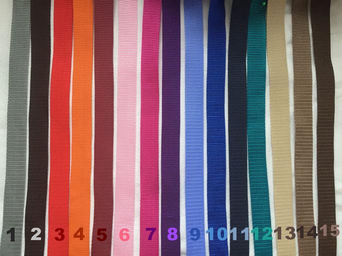 1. Grau / 2. Schwarz / 3. Rot / 4. Orange / 5. Bordeaux / 6. Rosa / 7. Pink / 8. Lila / 9. Hellblau / 10. Royal / 11. Dunkelblau / 12. Petrol / 13. Beige / 14 Hellbraun / 15. Dunkelbraun