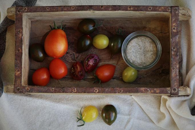 Tomaten und Tomatensalz