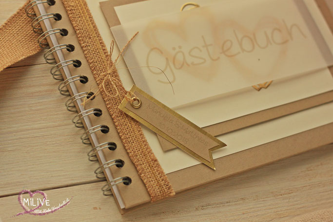 Hochzeit Vintage Gästebuch Leinen Gold Herzen