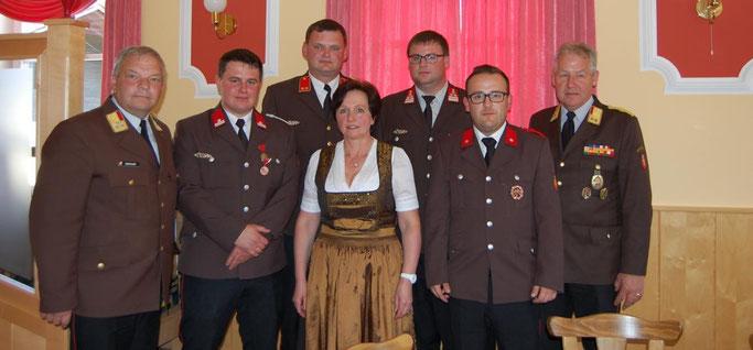OBR Murauer, AW Anzengruber, HBI Schiffelhumer, BGM Zauner, OBI Bruckmüller, AW Kaser, BR Oberndorfer