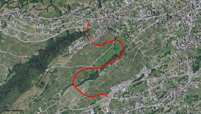 Voici le dernier tracé approximatif de la future route de contournement à Savièse. Carte Swisstopo