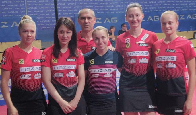 ECL Team LINZ AG Froschberg - Källberg, Hamamoto, Harczi, Bergström, Polcanova, Baltushite