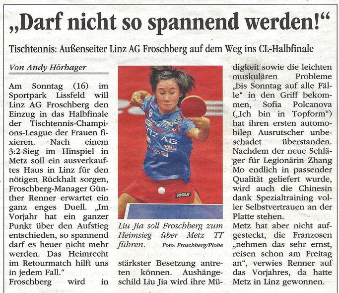 Volksblatt ECL QF Metz Vorschau 09.02. 2017
