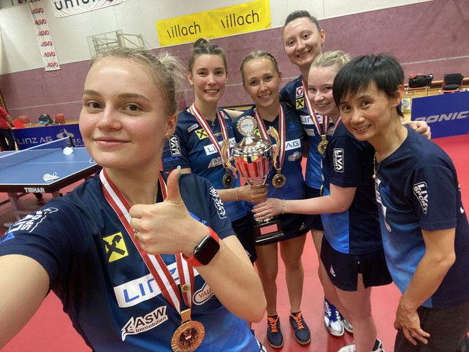 Österreich Meisterinnen -  Margarita Baltushyte, Karoline Mischek, Ines Diendirfer, Sofia Polcanova, Romy Reiter, Liu Jia