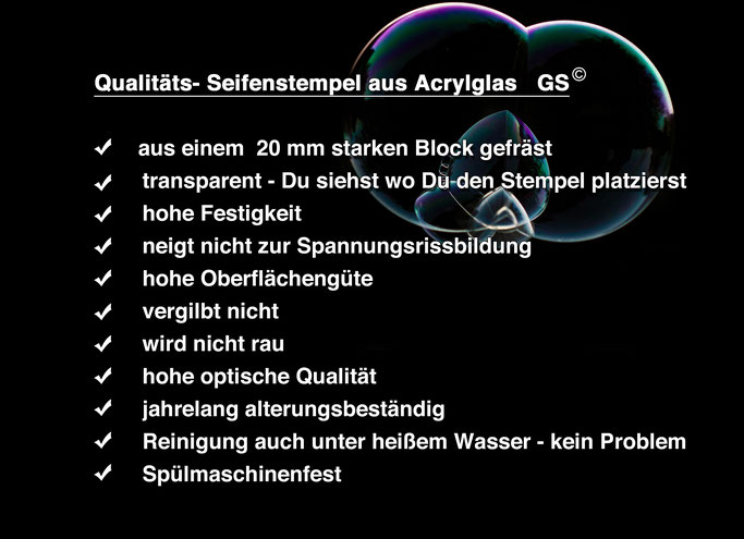 Seifenstempel, Acrylglas, Seifenstempel eigenes Logo, individueller Seifenstempel
