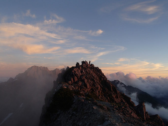 穂高連峰南岳付近の稜線