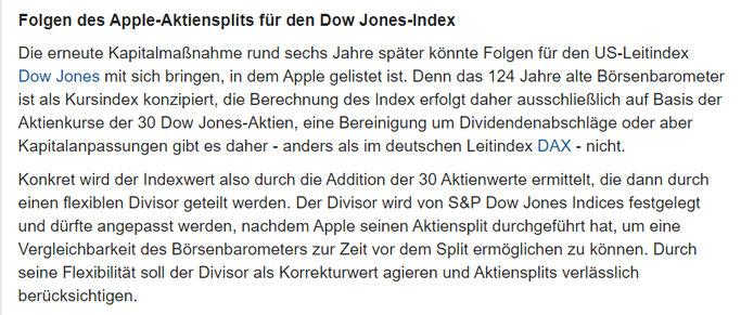 Apple Aktiensplit Folgen für den DowJones