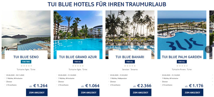 Screenshot der TUI Blue Website