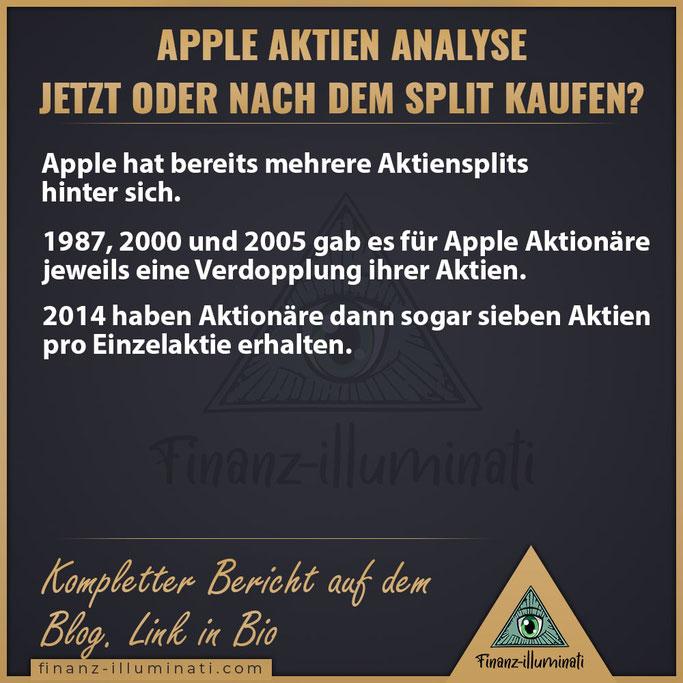 Apple Aktiensplit 1987, 2000, 2005, 2014, 2020