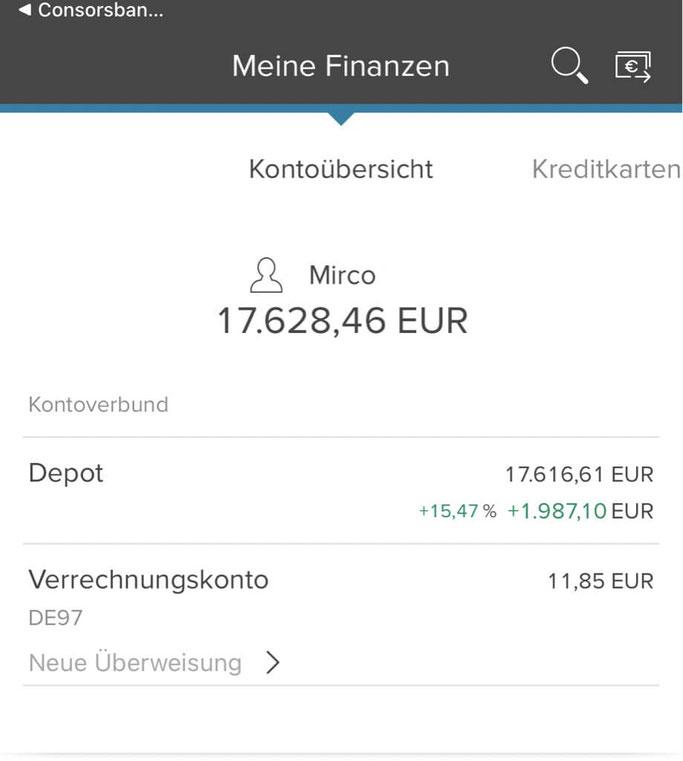 Consorsbank App Depot und Verrechnungskonto Übersicht