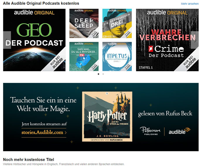 Audible kostenlose Hörbücher anhören