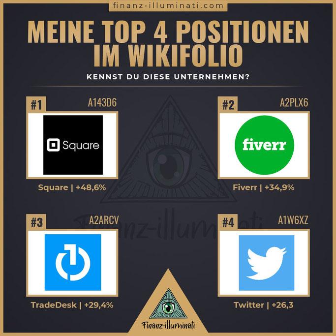 Meine top 4 Positionen im wikifolio - Square, fiverr, TradeDesk, Twitter