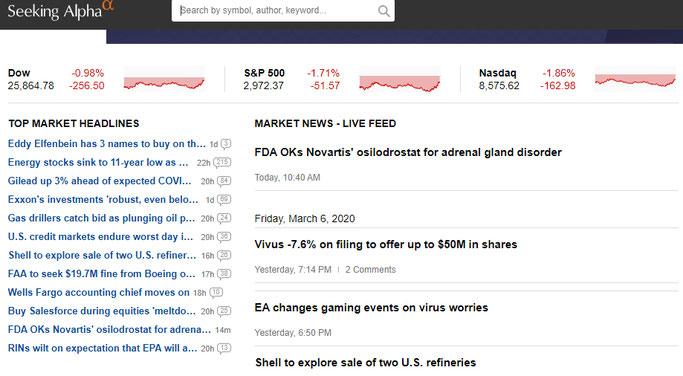 Seeking Alpha kostenlose tools für aktionäre dividenden und investoren