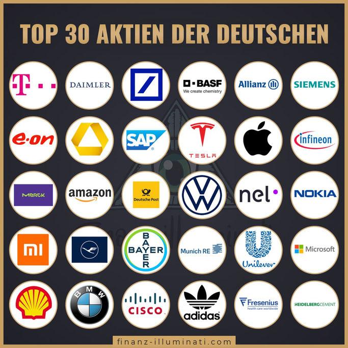 Top 30 Aktien der Deutschen
