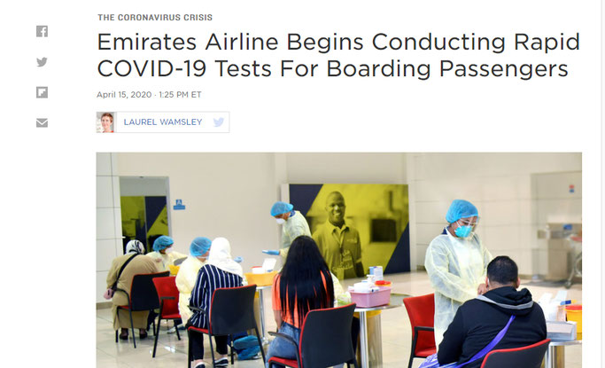 Corona Schnelltest Tourismus Airlines Ethiad Emirates Booking