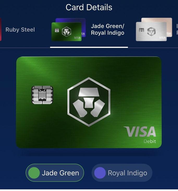 Crypto.com Jade Green Royal Indigo Kreditkarte