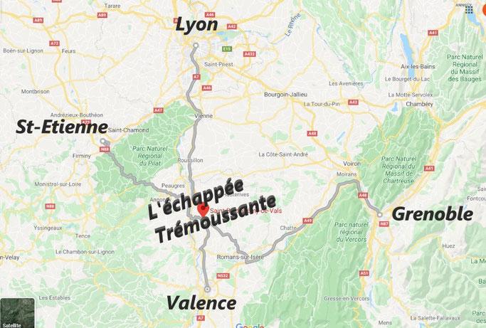 l'échappée trémoussante, 695 chemin du pilat, 26240 saint-barthélemy de vals situé dans la drôme des collines, à 1h le lyon, saint-etienne et grenoble