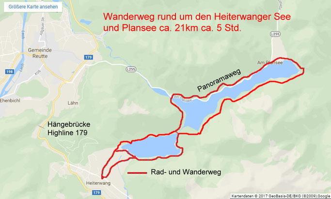 Wanderweg rund um den Heiterwanger See und Plansee.