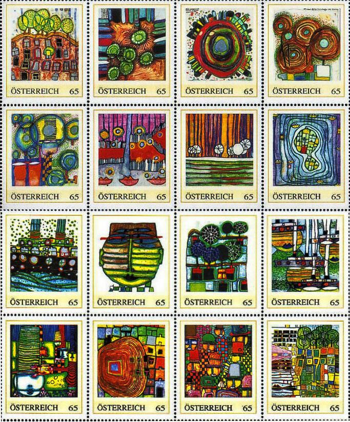 Personalisierte Hundertwasser Briefmarken von Österreich (personalized stamps  Austria)