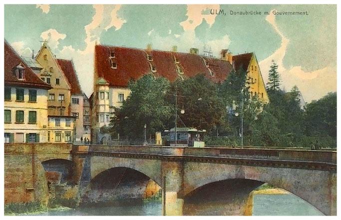 Ulm, Donaubrücke mit Gouvernement 1908
