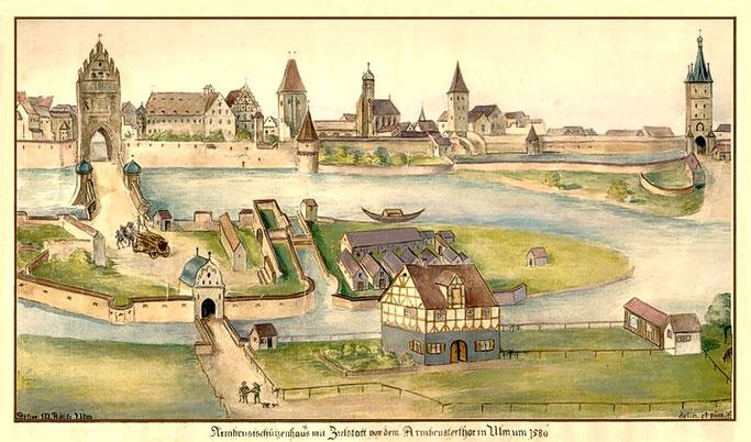 """Ulm von Süden. Armbrustschützenhaus. Zustand um 1540, angefertigt um 1910. Aquarell. Signiert: """"delin et pinx. St. Flock Ulm"""" (Stefan Flock 1870-1928). Ausschnitt einer um 1580 entstandenen kolorierten Tuschezeichnung."""